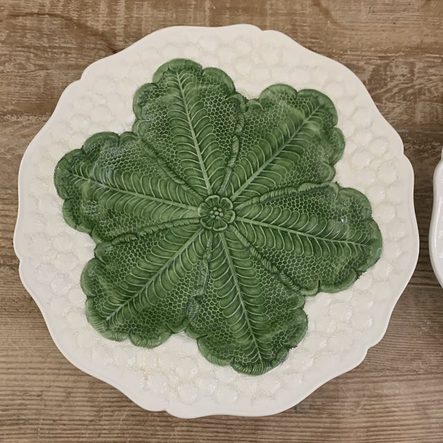 Italian 1980s Majolica Cabbage Plates- a Pair For Sale - Image 4 of 9