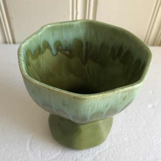Vintage Midcentury pottery vase or plant vessel in a mixed drip glaze green. Fab for any room or decor.