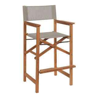 Captain Bar Foldable Teak Outdoor Bar Stool with Arms and a Taupe Textilene Fabric For Sale