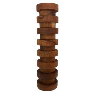 Tall Columnar Modernist Teak Vase For Sale