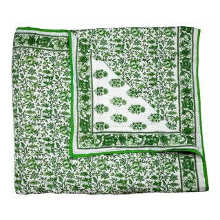 Aria-Riya Reversible Quilt, Queen - Green For Sale