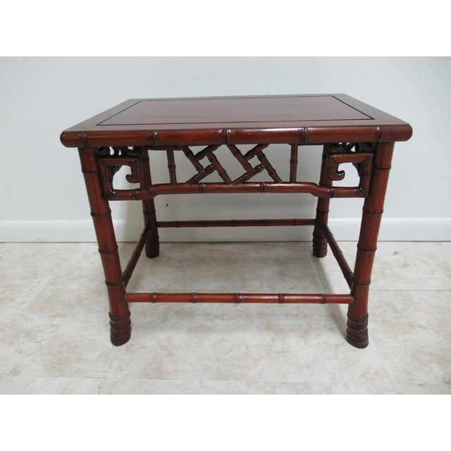 Vintage Chinese Chippendale Rosewood Faux Bamboo Lamp End Table For Sale - Image 10 of 10