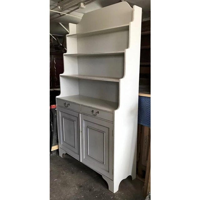 1960s Vintage Painted Narrow Bookcase Cupboard For Sale - Image 5 of 10