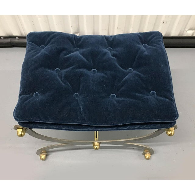 Campaign Vintage Steel, Brass and Mohair Campaign Cerule Stool For Sale - Image 3 of 10