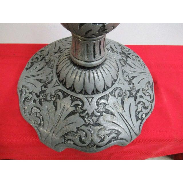 Antique Aluminum Carved Industrial Regency Pedestal Candle Base For Sale - Image 4 of 10
