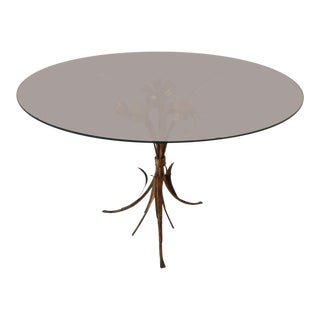 Art Nouveau Gilded Metal and Glass Coffee or Side Table For Sale