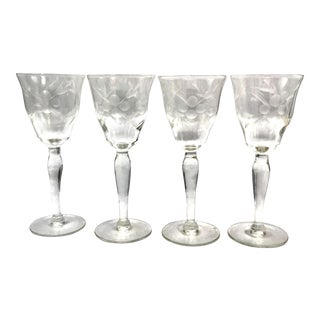 Early 20th C. Wheel Etched Crystal Sherry or Cordial Glasses - Set of 4