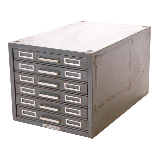 Vintage Industrial Gray 6 Drawer Kardex Style File Cabinet For Sale