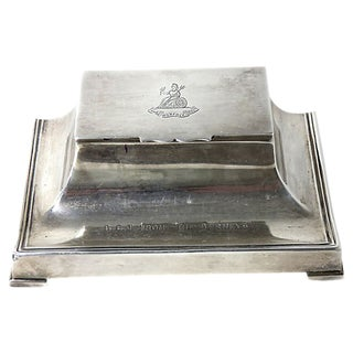1920s English Sterling Silver Inkwell For Sale