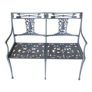 1960s Vintage Metal Classical Style Garden Bench For Sale