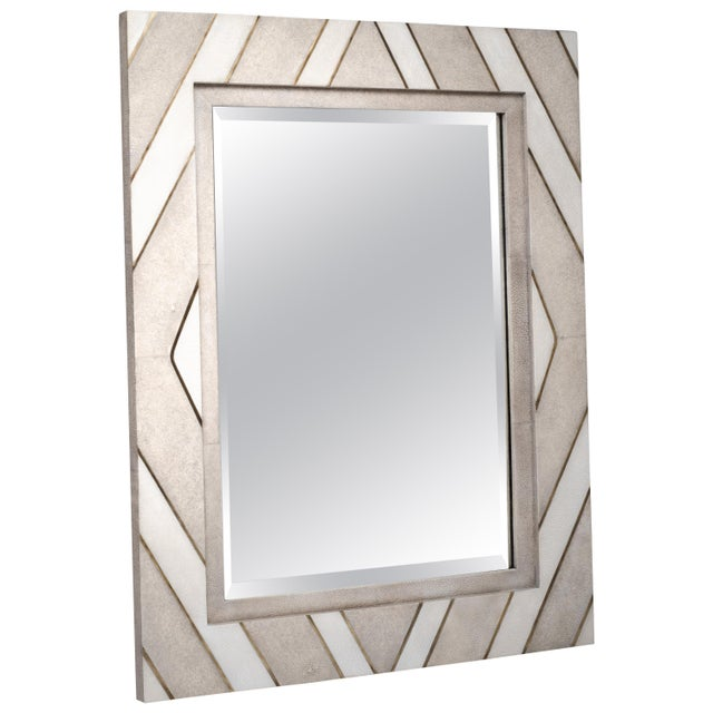 Zig Zag Mirror in Cream/White Shagreen Shell & Bronze-Patina Brass by Kifu Paris For Sale In New York - Image 6 of 6