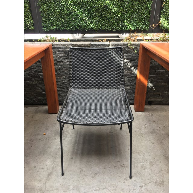 Modern Black Woven Outdoor Dining Chairs - Set of 4 - Image 6 of 8
