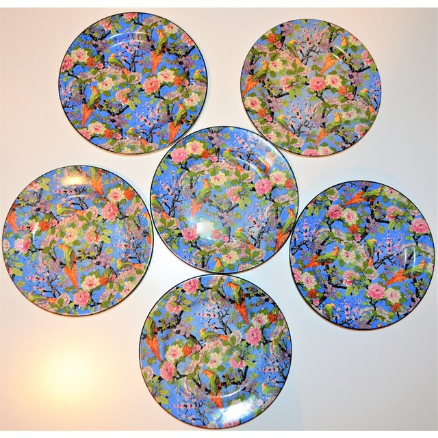 1920's Antique Crown Ducal Blue Chintz Plates - Set of 6 For Sale In Houston - Image 6 of 11