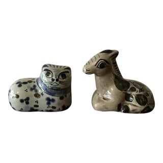 1970s Mexican Pottery Cat and Donkey Figures - Set of 2