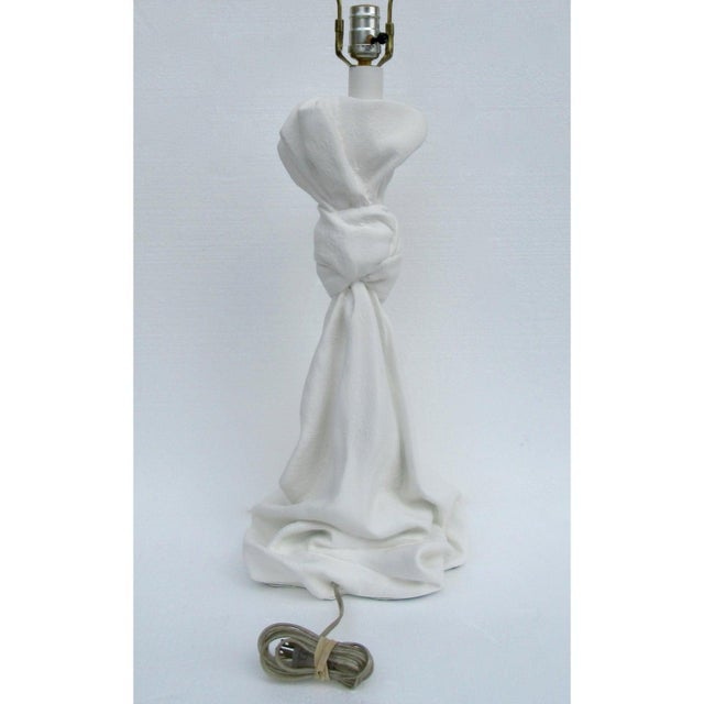 White C.1970s Mid-Century Modern, John Dickinson Attr. Plaster Drape-Knotted Lamps -A Pair For Sale - Image 8 of 13