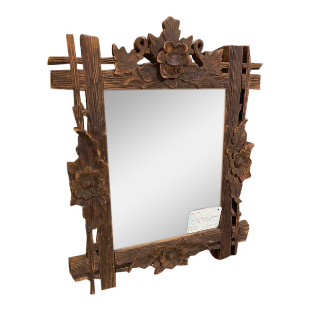 Black Forest Carved Frame with Mirror For Sale