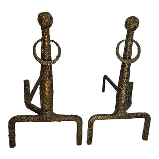 1960s Sculpted Bronze Andirons in the Manner of Giacometti - a Pair For Sale