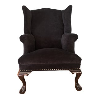 1940's Queen Anne Wingback - Reupholstered For Sale