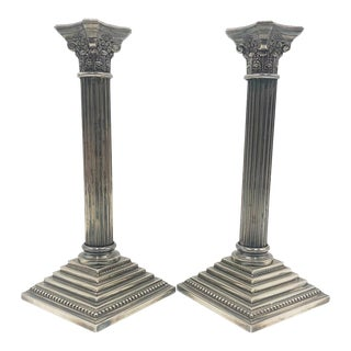 Silver Neoclassical Style Column Candlesticks For Sale
