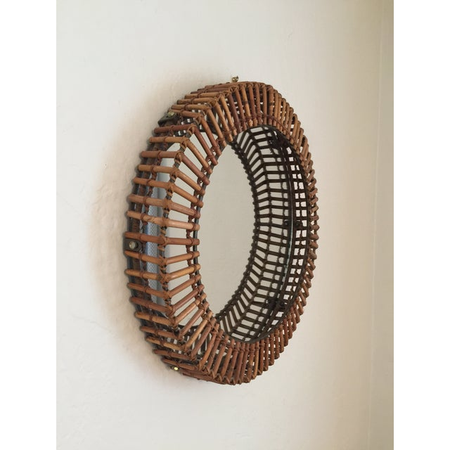 Vintage Umbra Rattan Wall Mirror by Matt Carr; Albini Style For Sale - Image 9 of 9
