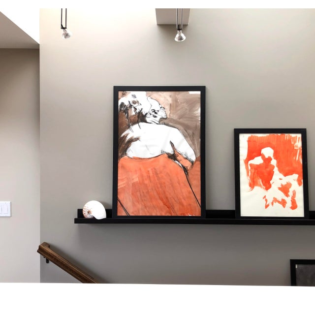 """2020s Contemporary Figure Drawing in Orange and Black, """"Queen Gloria"""" by David O. Smith For Sale - Image 5 of 12"""