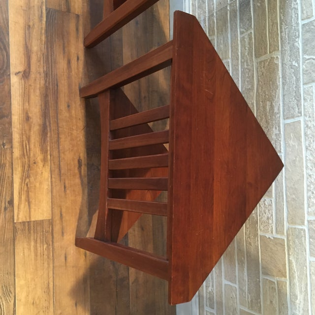 Brown Late 20th Century Ethan Allen Solid Cherry Triangle Corner Side Table For Sale - Image 8 of 13