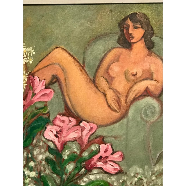"""Modern Painting, in the style of Matisse Painted by M. Hammer, '94, Sarasota Florida """"Nude with Bouquet of Flowers from a..."""