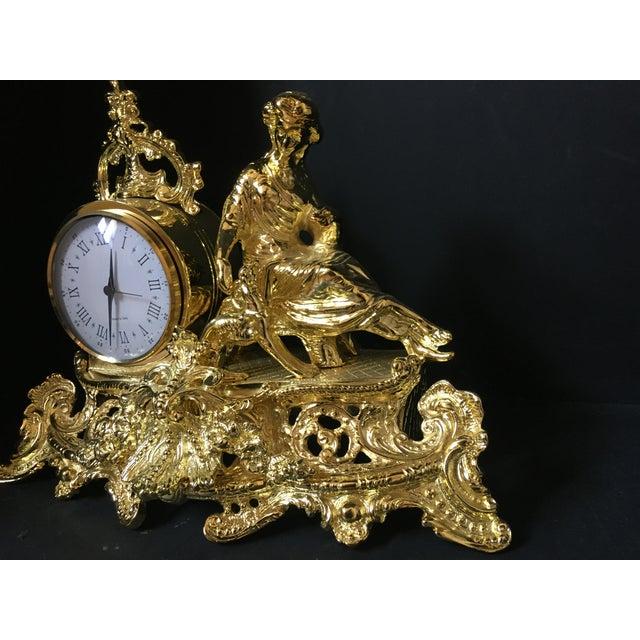 Italian Italian Polish Brass Mantel Clock Statue of a Woman For Sale - Image 3 of 7