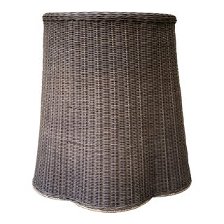 Trompe l'Oeil Round Top Draped Rattan Table For Sale