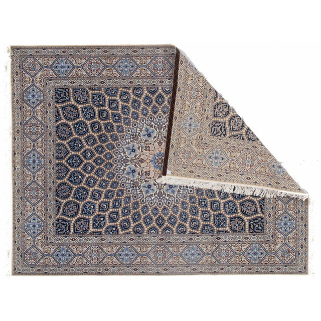 Beautiful hand-knotted Nain rug made from wool and silk. Nain is a small village located in central Iran that has...