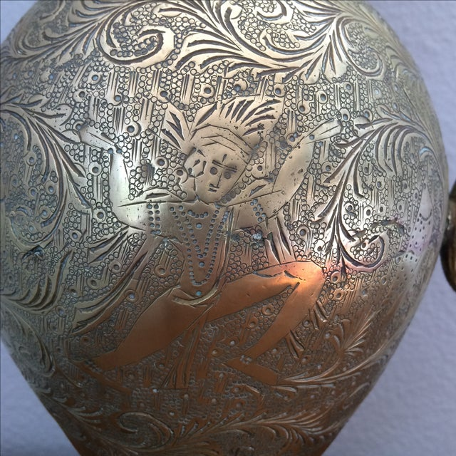 Vintage Brass Vase with Snake and Fish Handles For Sale - Image 7 of 11