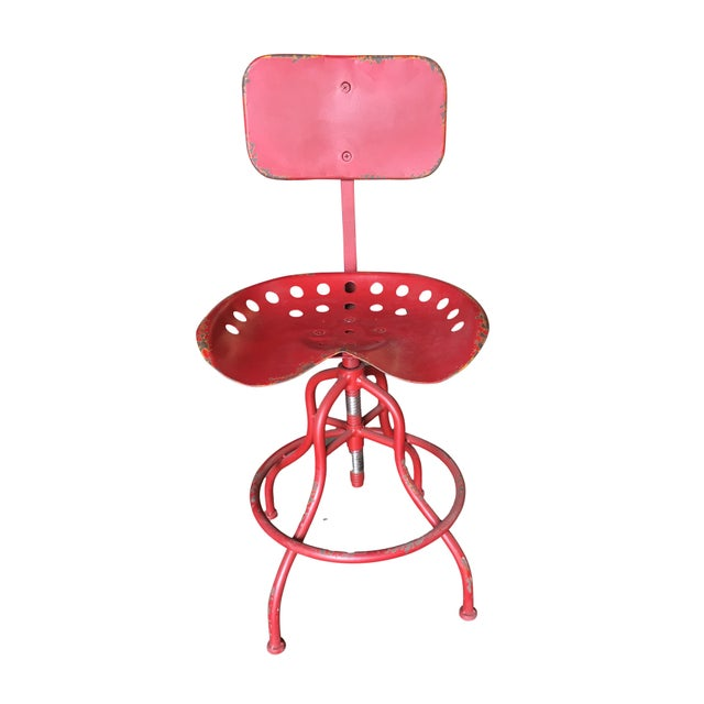 Red Rustic Industrial Steel and Iron Tractor Work Stool For Sale - Image 8 of 8