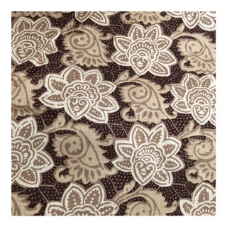 Tyler Hall Exclusive Mauritius Cream and Brown and Beige Pattern Fabric For Sale