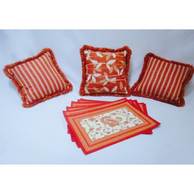Set 3 of high quality pillows in burnt orange plus 6 placemats. Add textural interest and great colors to your boho...