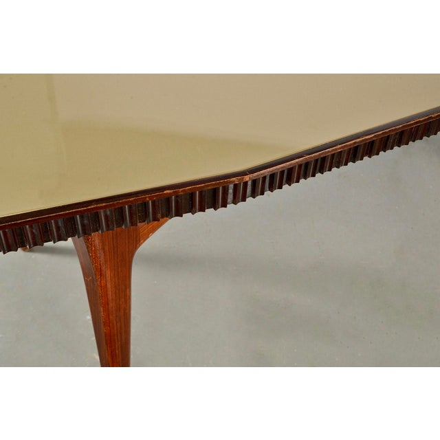 Mid-Century Italian Dining Table With Green Glass Top and Fluted Edge For Sale In Detroit - Image 6 of 11