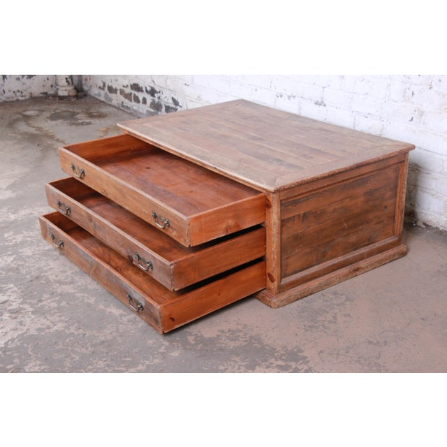 19th Century Country French Primitive Pine Double-Sided Map File Cabinet or Coffee Table For Sale In South Bend - Image 6 of 13