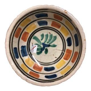 Vintage Mexican Ceramic Rare Bowl Hand Painted Multicolor Bowl Leaf Design For Sale