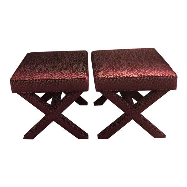 Custom Upholstered Ballard Designs X-Stools - a Pair For Sale
