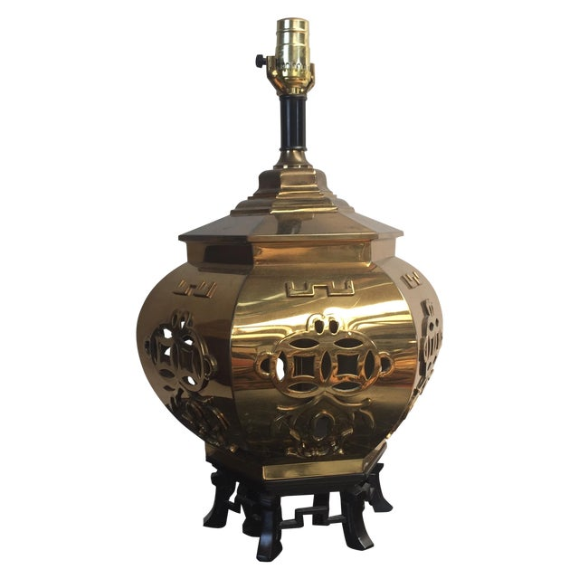 Chinoiserie Reticulated Brass Table Lamp - Image 1 of 5