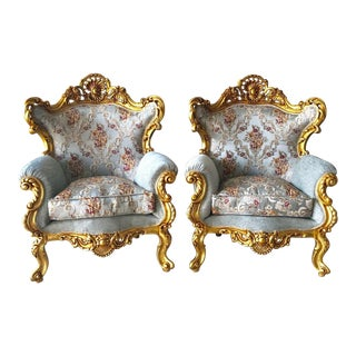 1940s Vintage Baroque Rococo Seating Set of Chairs- A Pair For Sale