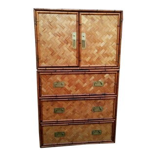 Vintage Bamboo and Rush Dresser For Sale