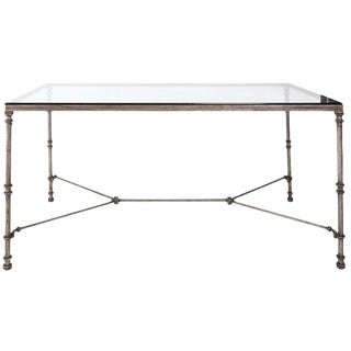 Industrial Glass and Iron Dining Table For Sale