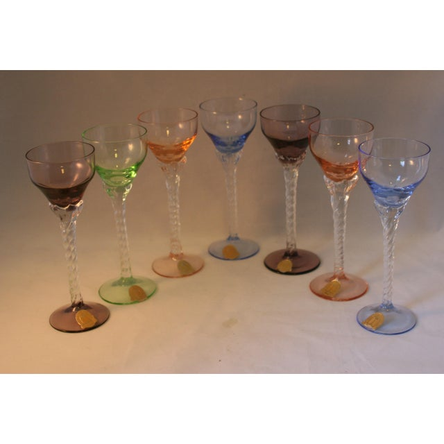 Art Nouveau Set of 7 Blefeld Hand Crafted Crystal Multi Color Stemmed Cocktail Cordial Glasses For Sale - Image 3 of 7
