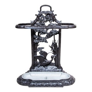 19th Century Victorian Ornate Cast Iron Umbrella Stand With Birds & Water Scene , Original Insert, Decorative, Room Accessory, Utilitarian & Practical For Sale