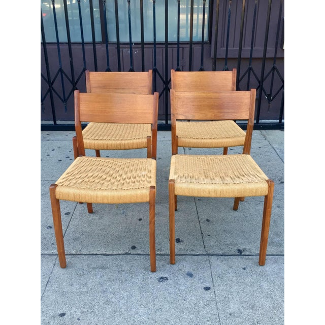 Danish Modern Teak and Rope Chairs - Set of 4 - Image 2 of 9