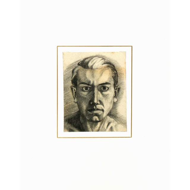 French Vintage 1950 French Pencil Portrait Drawing For Sale - Image 3 of 3