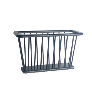 Large Black Arthur Umanoff Spindle Magazine Rack For Sale