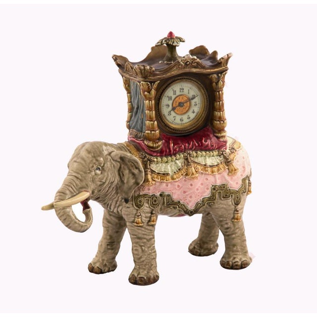 Ceramic Bohemian Faience Elephant Form Mantle Clock Late 19th Century For Sale - Image 7 of 7