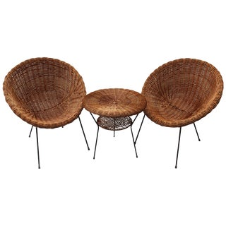 Pair of Rattan Chairs and Table in the Style of Franco Albini For Sale