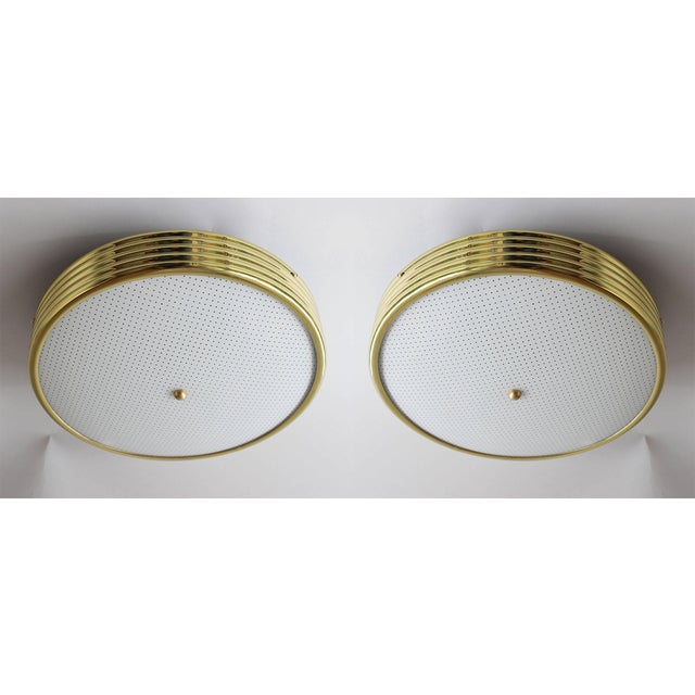 Metal Italian Brass Ceiling Lights - a Pair For Sale - Image 7 of 7